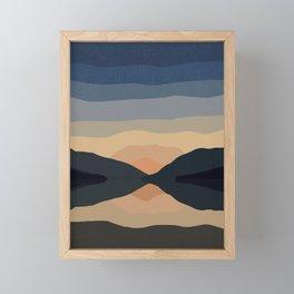 Sunset Mountain Reflection in Water Framed Mini Art Print