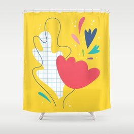 Abstract flower and leaves bouquet Shower Curtain