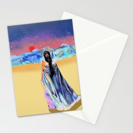 Girl in the Snowy Mountains Yellow Stationery Cards