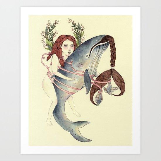Ribbons Whale Art Print