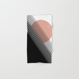 Rising Sun Minimal Japanese Abstract White Black Rose Hand & Bath Towel