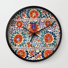 Shakhrisyabz Suzani Uzbekistan Antique Embroidery Print Wall Clock