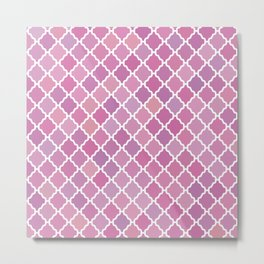 Pink Purple Moroccan Pattern Metal Print