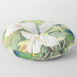 Trillium Wildflowers Watercolor  Floor Pillow