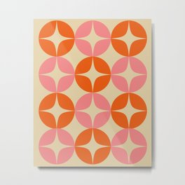 Mid Century Modern Pattern in Pink and Orange Metal Print
