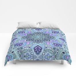 Navy Blue, Mint and Purple Boho Pattern  Comforters