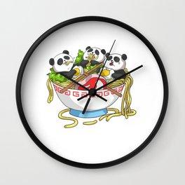 Ramen Kawaii Panda T-Shirt I Japanese Food Lover Wall Clock