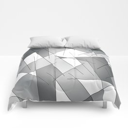 ABSTRACT LINES #1 (Grays & White) Comforters