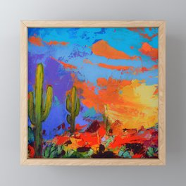 Saguaros Land Sunset - square version Framed Mini Art Print