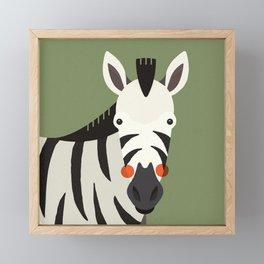 Zebra, Animal Portrait Framed Mini Art Print
