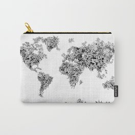 floral world map black and white Carry-All Pouch