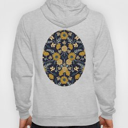 Navy Blue, Turquoise, Cream & Mustard Yellow Dark Floral Pattern Hoody