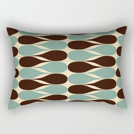 Retro waterdrops pattern. Blue and Brown. Rectangular Pillow