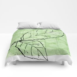 Two Leaves on Green Comforters