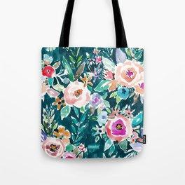 EFFUSIVE FLORAL Dark & Colorful Boho Pattern Tote Bag