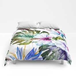Watercolor Tropical Hibiscus Comforters