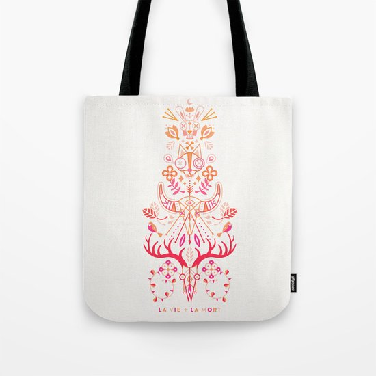 La Vie & La Mort – Pink & Orange Ombré Tote Bag