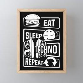 Eat Sleep Techno Repeat - Party Electronic Music Framed Mini Art Print