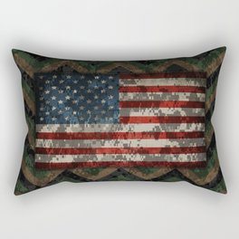 Green and Brown Military Digital Camo Pattern with American Flag Rectangular Pillow