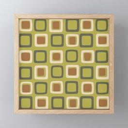 Mid Century Modern Squares Chartreuse Framed Mini Art Print