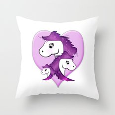 Unicorn Family in pink Throw Pillow