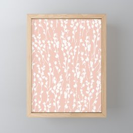 Pussywillow Silhouette — Blush Framed Mini Art Print