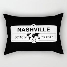 Nashville Tennessee Map GPS Coordinates Artwork with Compass Rectangular Pillow
