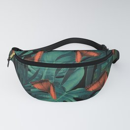 Tropical Butterfly Jungle Night Leaves Pattern #2 #tropical #decor #art #society6 Fanny Pack