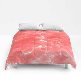 Living coral white modern abstract marble Comforters