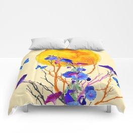 BLUE BUTTERFLIES MORNING GLORY  FULL MOON ART Comforters