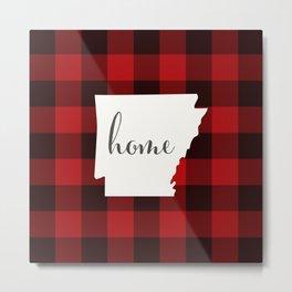Arkansas is Home - Buffalo Check Plaid Metal Print
