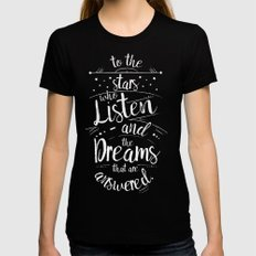 ACOMAF- To the Stars Who Listen And the Dreams that are Answered MEDIUM Womens Fitted Tee Black