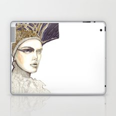 Portrait illustration in golden markers and pencils Laptop & iPad Skin