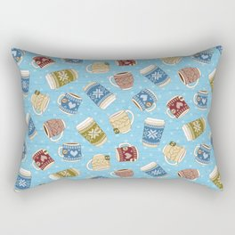 Cozy Mugs - Bg Blue Wood Rectangular Pillow