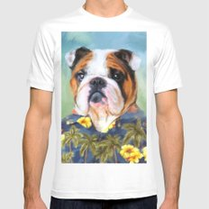 Chic English Bulldog White X-LARGE Mens Fitted Tee