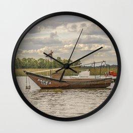 Fishing and Sailboats at Santa Lucia River in Montevideo, Uruguay Wall Clock