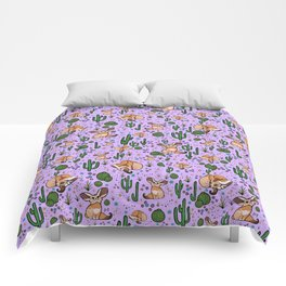 Cute Cactus and Fennec Fox Comforters