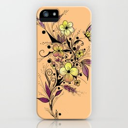 Flower Tattoo in Yellow and Purple iPhone Case