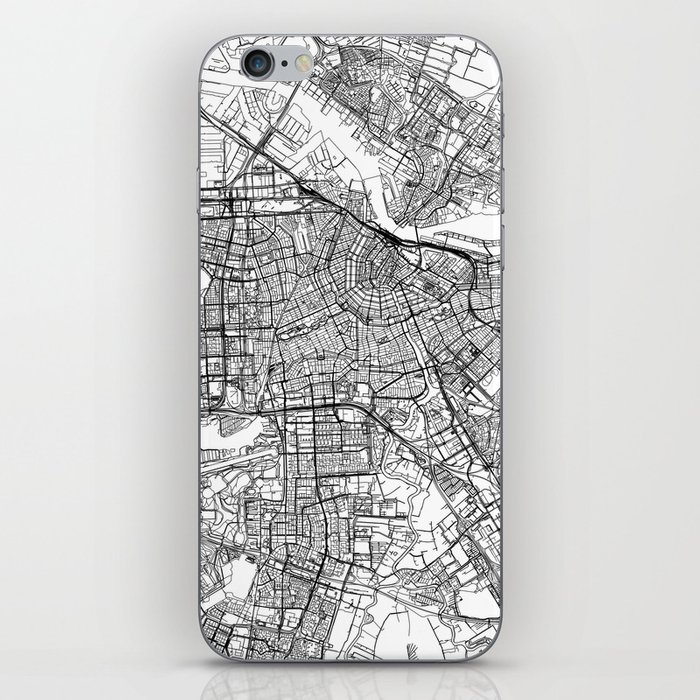 Amsterdam White Map iPhone Skin