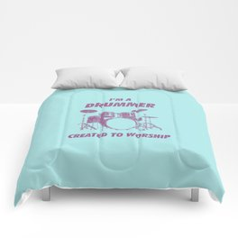 I'm Drummer Created To Worship Funny Drums Vintage Drumming Distressed Comforters