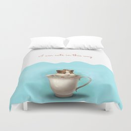 hamster in the cup Duvet Cover