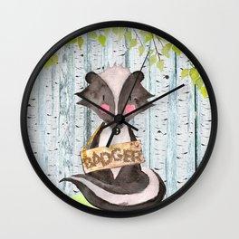 Badger - Woodland Friends - Watercolor Illustration Wall Clock