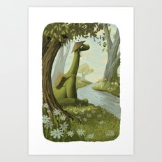 Dinosaur By The Stream Art Print