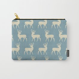 Mid Century Modern Deer Pattern Venetian Blue and Tan Carry-All Pouch