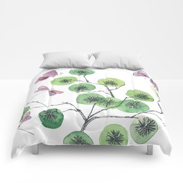 a touch of summer fragrance - white background Comforters