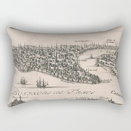 Vintage Pictorial Map of Constantinople (1696) Rectangular Pillow