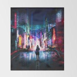 Tokyo Cyberpunk Japan Throw Blanket