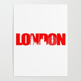 London Skyline Red Poster