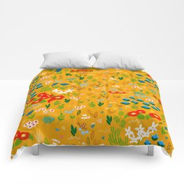 Floral x Yellow Comforters
