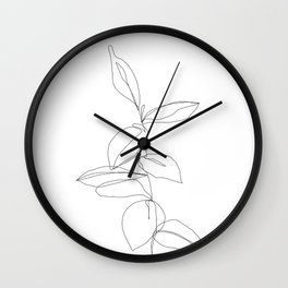 One line minimal plant leaves drawing - Berry Wall Clock